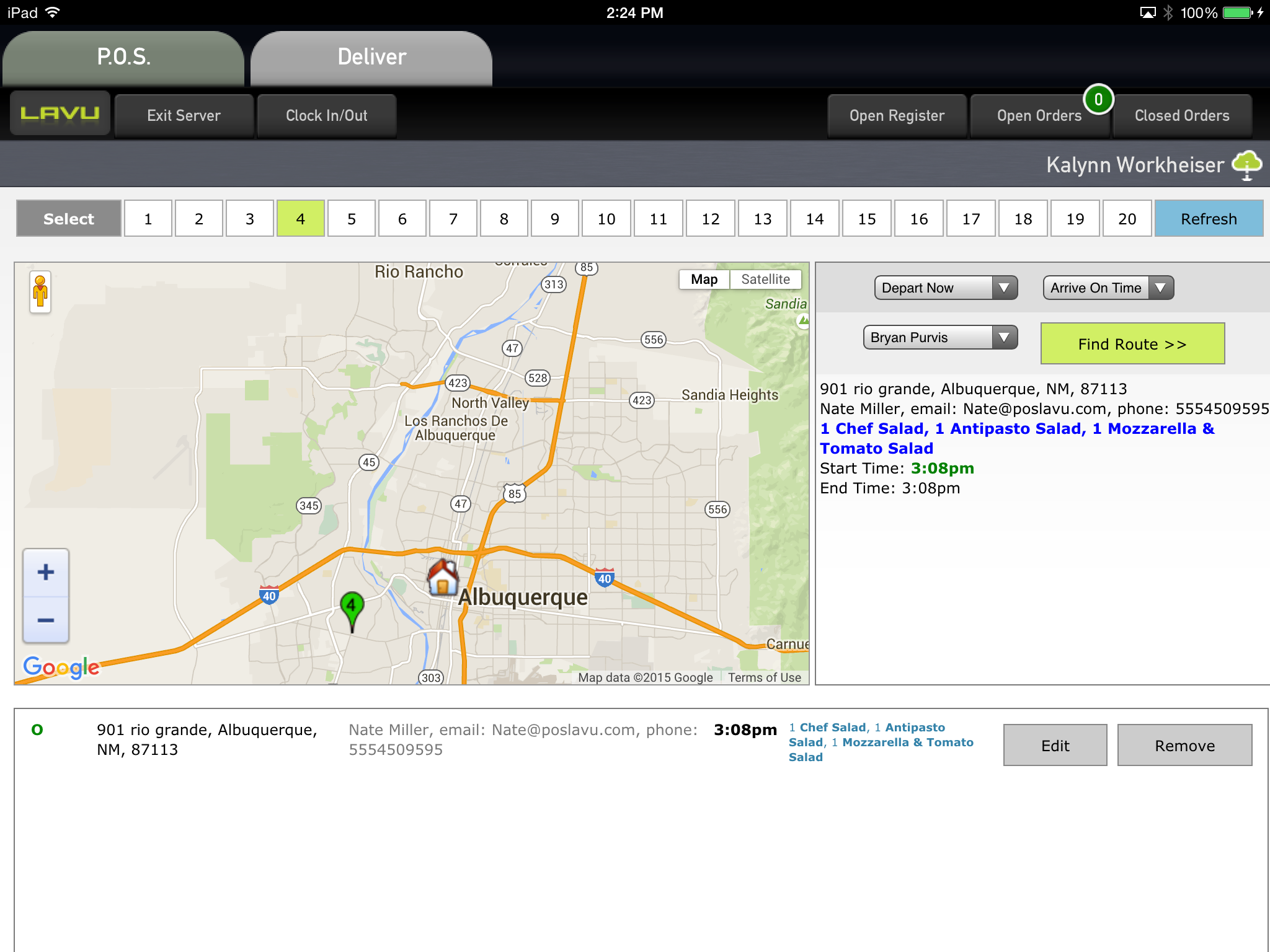 Lavu POS Software - Send directions to delivery drivers.