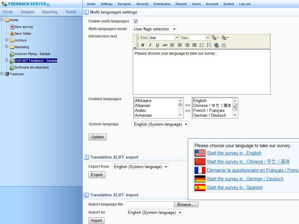 full multi language support
