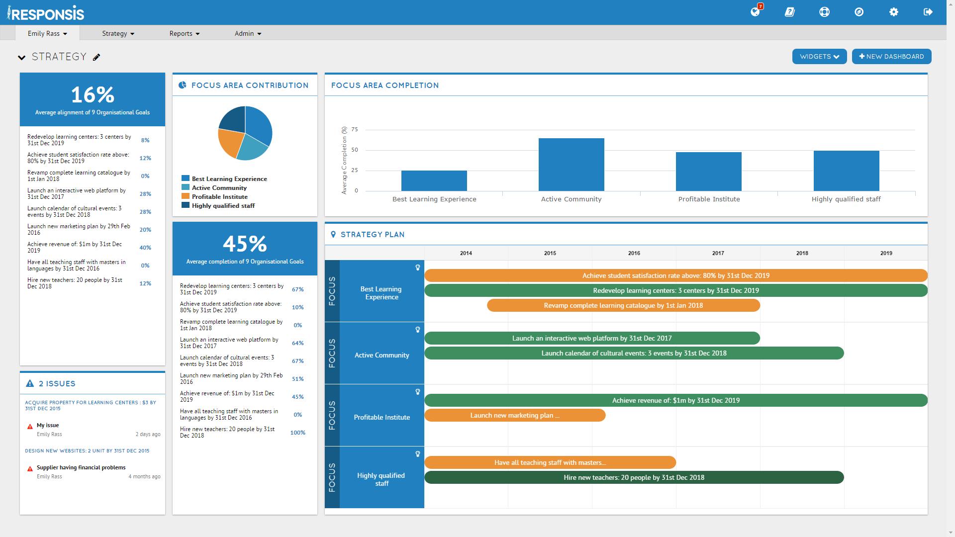 Cascade Strategy Software - Cascade Strategy dashboard