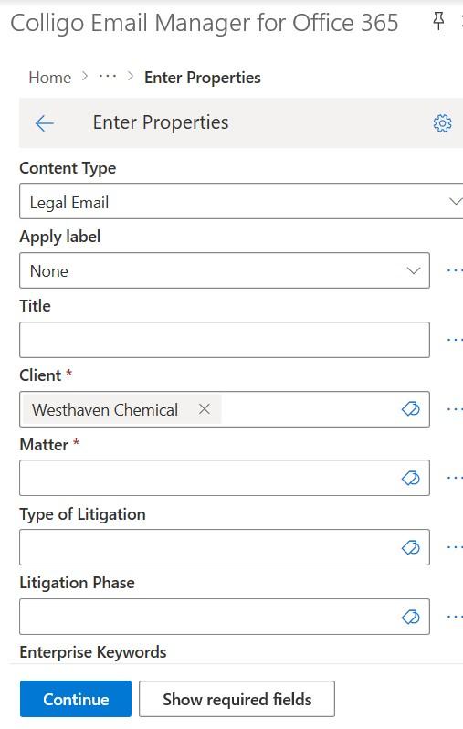 Email Manager for Microsoft 365 screenshot: Colligo Email Manager for Microsoft 365 properties