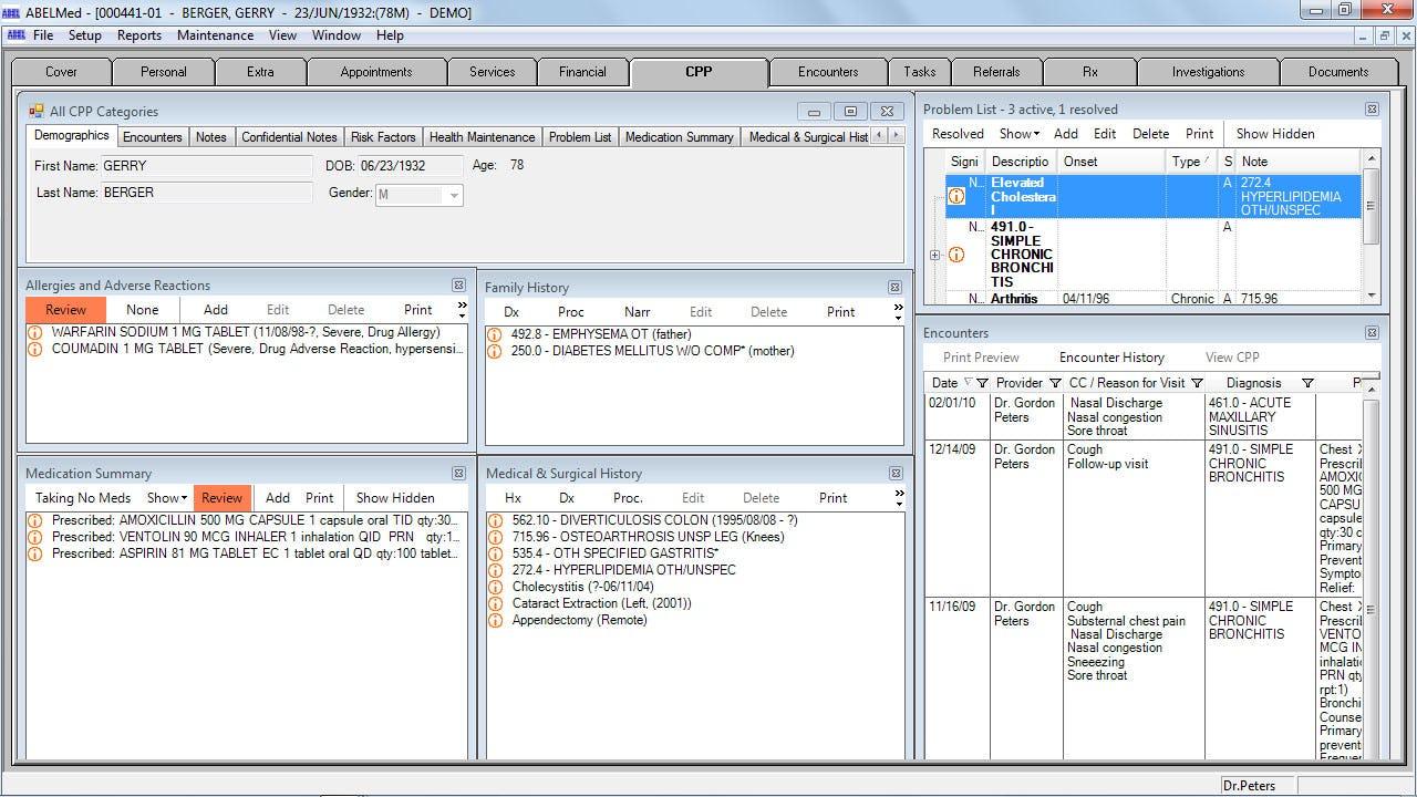 AbelMed Software - Cumulative patient profile