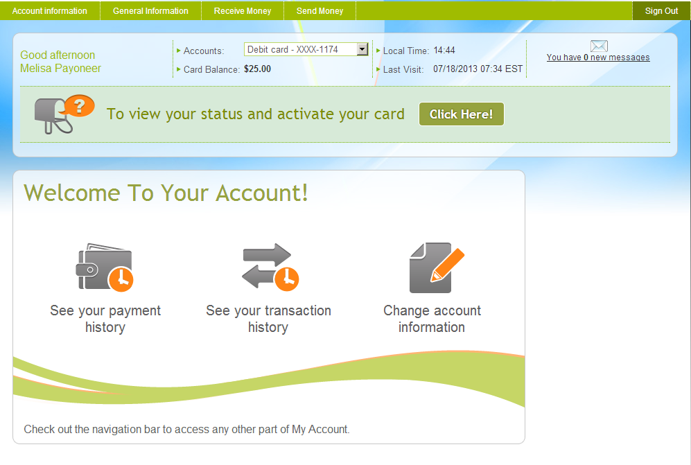 Payoneer screenshot: Users can keep track of their balance and all their transactions in their Payoneer account