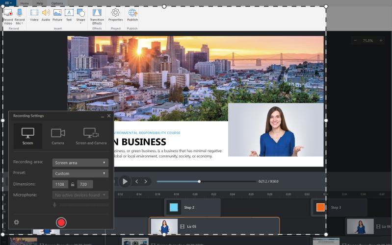 iSpring Suite Screen Recording