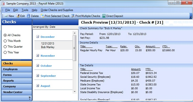 Payroll Mate Software - Check preview