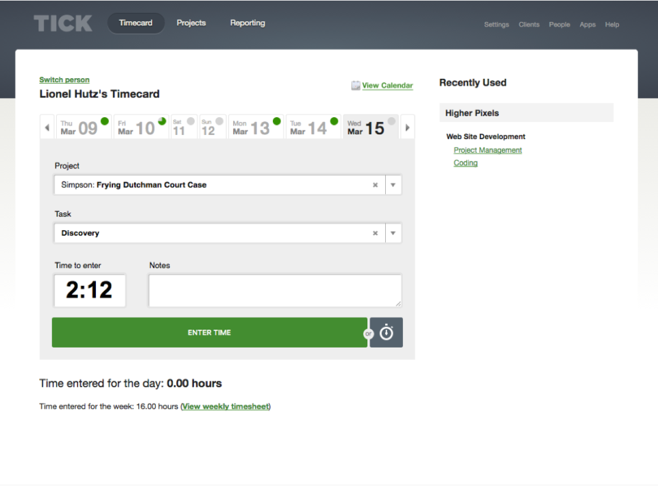 Users enter their time spent on each project and task in timecards