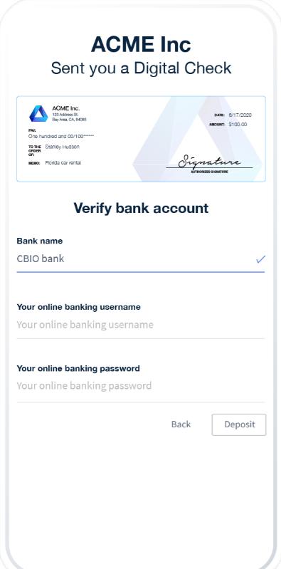 Checkbook bank account verification