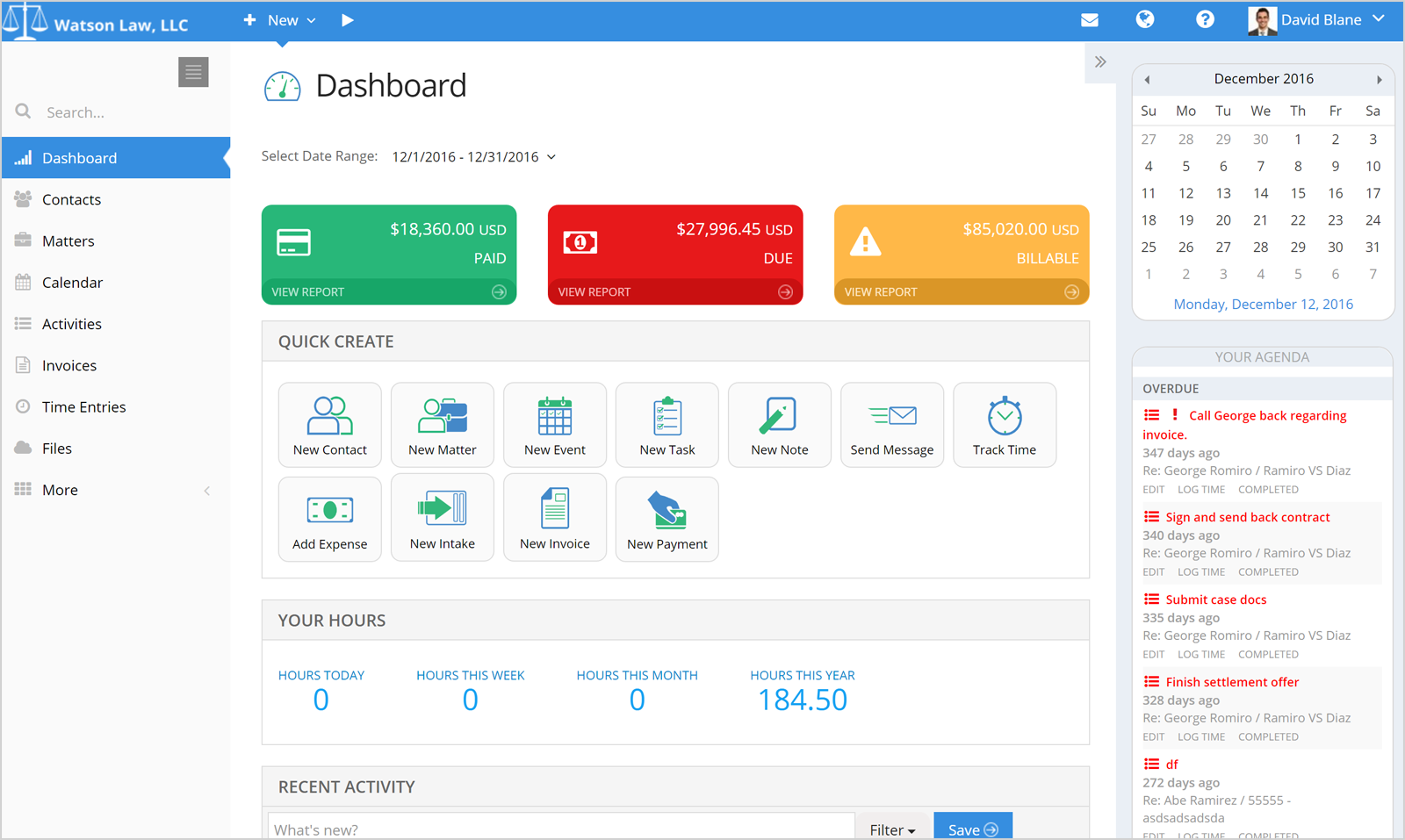 PracticePanther Legal Software Software - PracticePanther dashboard
