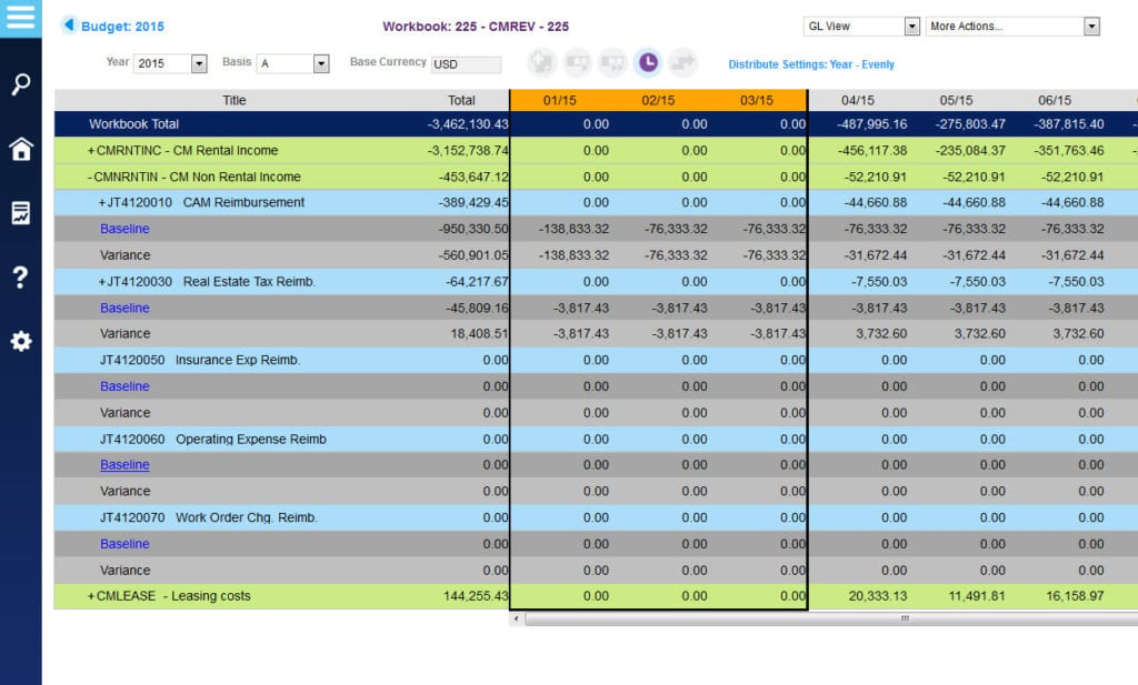 A budget workbook report within MRI Software, detailing baseline variances across a number of financials such as taxes and reimbursements