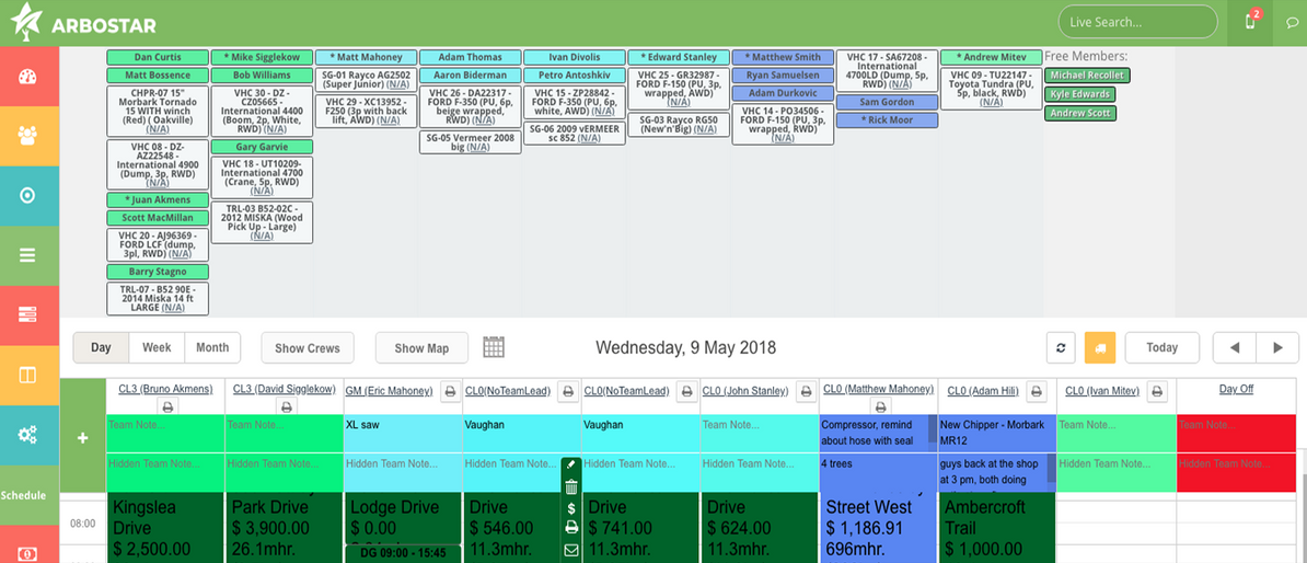 ArboStar screenshot: ArboStar scheduling