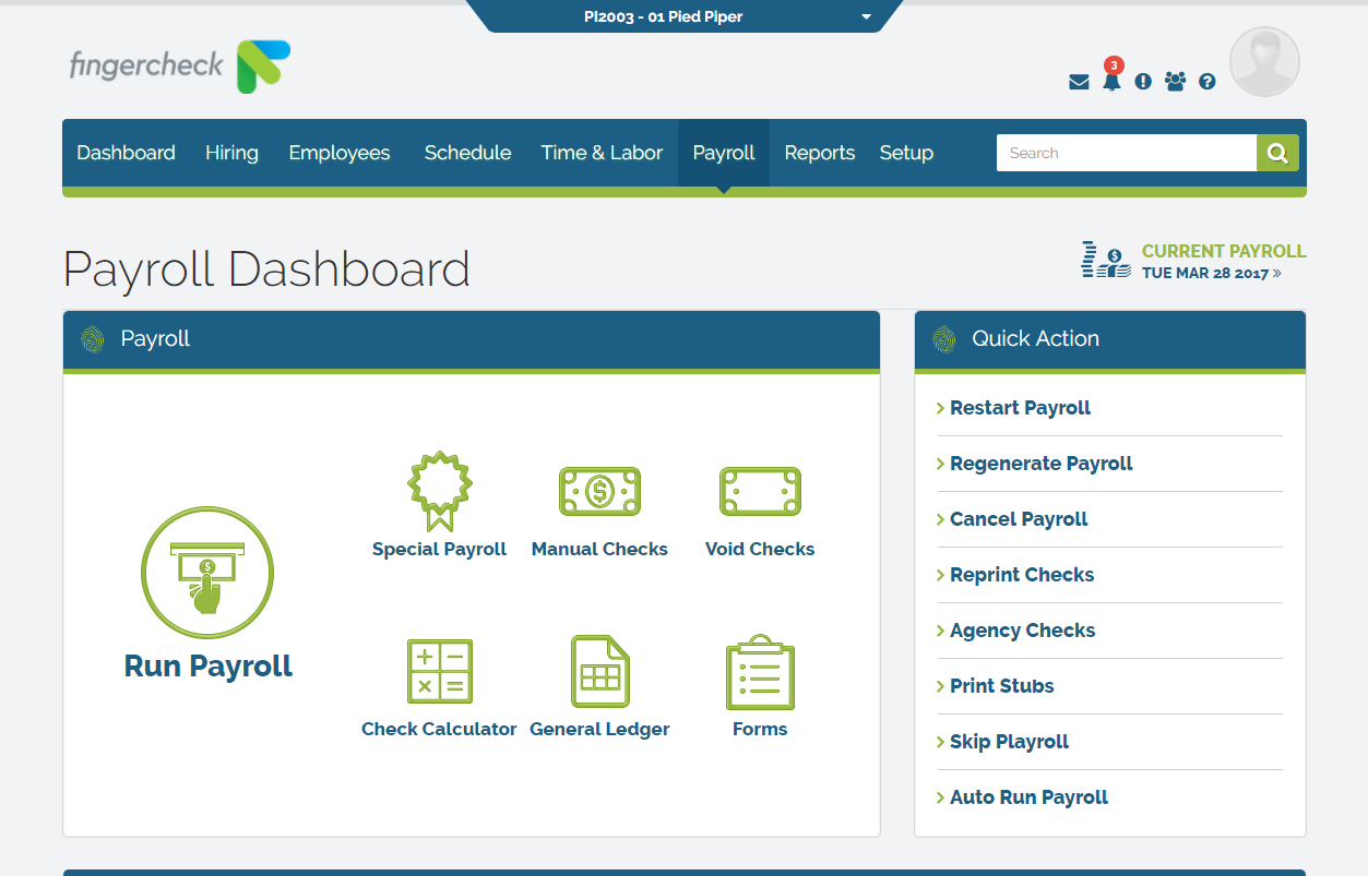 Fingercheck - Payroll dashboard