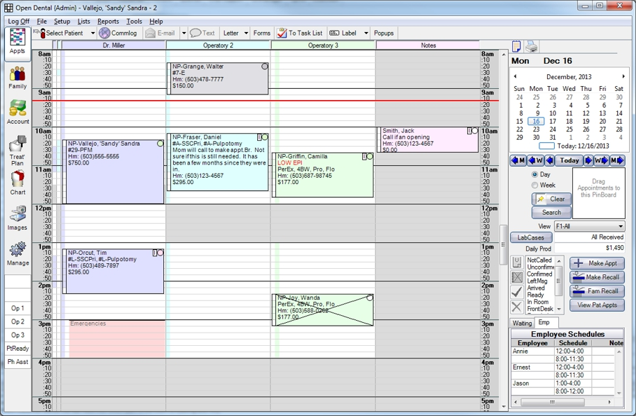 Open Dental Software - Appointment scheduler