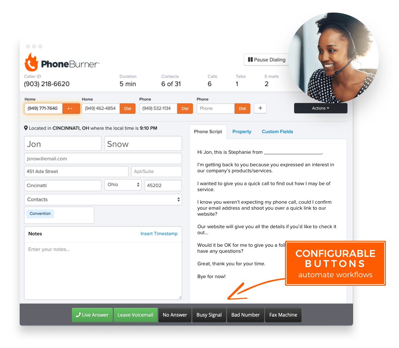 Customize dialer buttons to perform your desired actions based on any call result. Drop voicemails, send emails, apply tags, move contacts into folders or add to do-not-call list, and more.