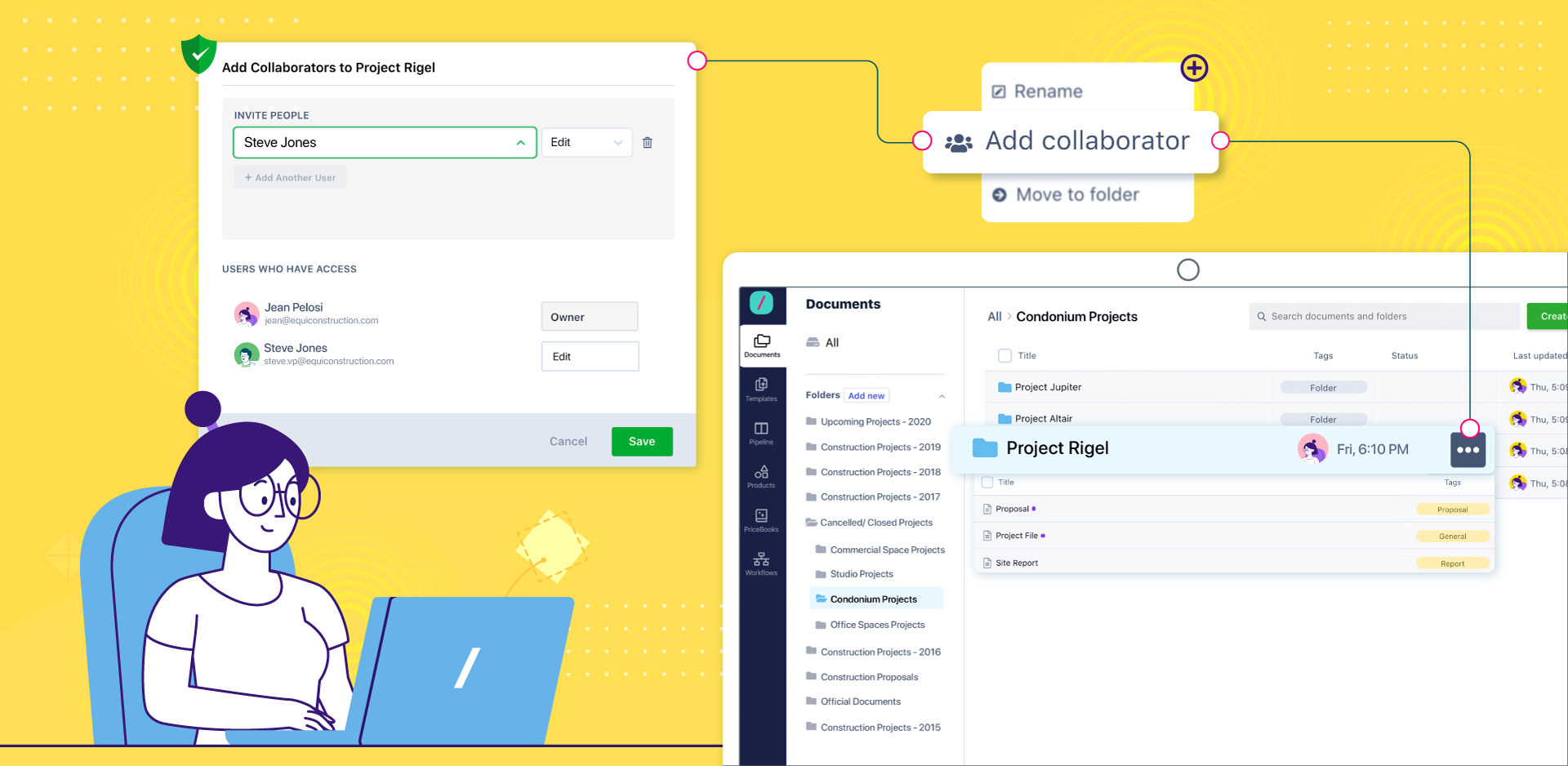 Collaborate with teams and external parties Invite people to collaborate on documents and folders via email.