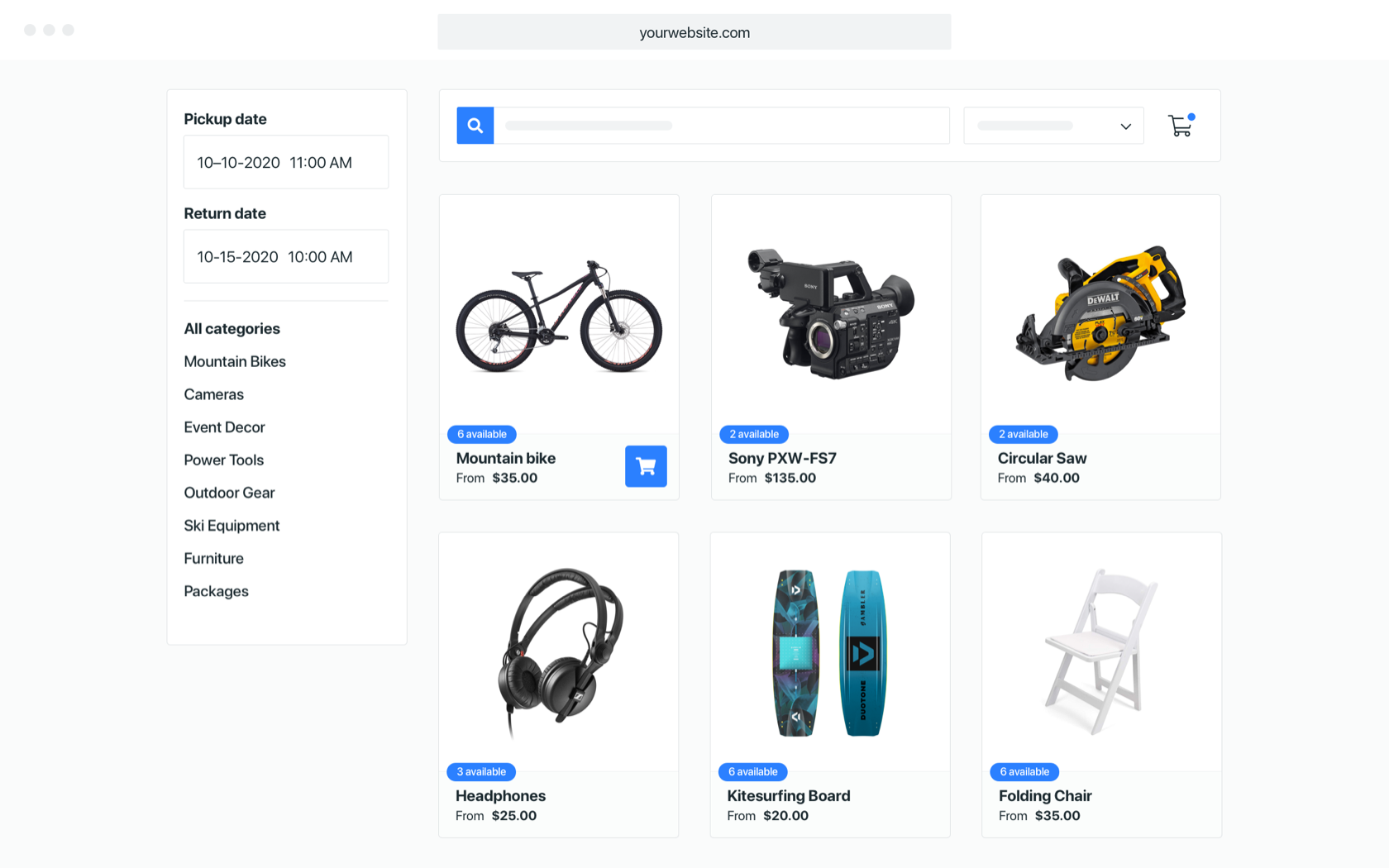 Create your own online rental store by adding Booqable to WordPress, Squarespace, Shopify, Weebly, or any other website.