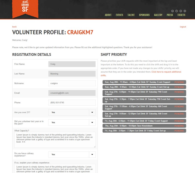 Volunteer profile page with editing capabilities.