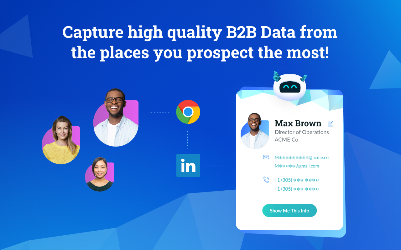 Datanyze screenshot: Find the perfect prospect on LinkedIn? Get ready to break the ice and start selling. With our Google Chrome Extension, Datanyze users can access contact and company data directly from the places they prospect most, in real-time.