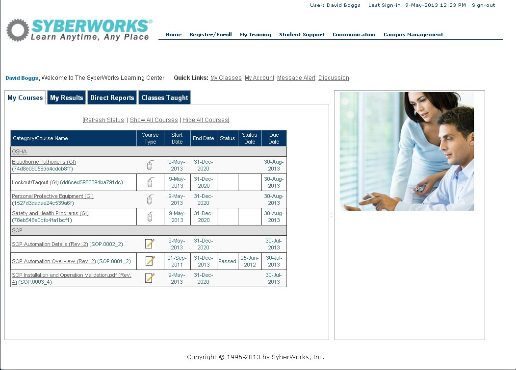 SyberWorks Training Center Software - LMS home page