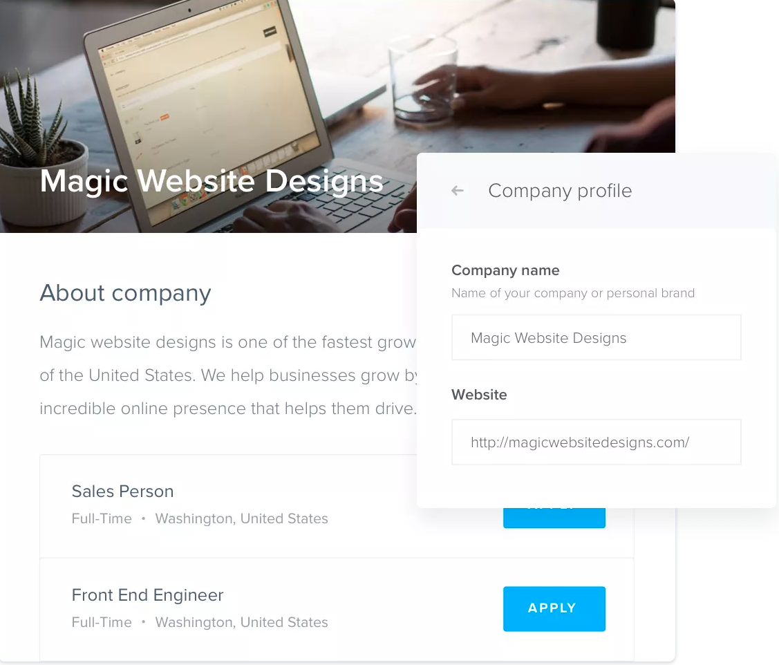 Users can also add job boards and portals to their own websites
