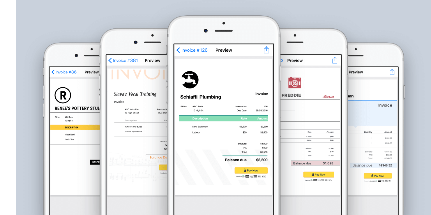Create professionally-styled invoices from a selection of customizable templates