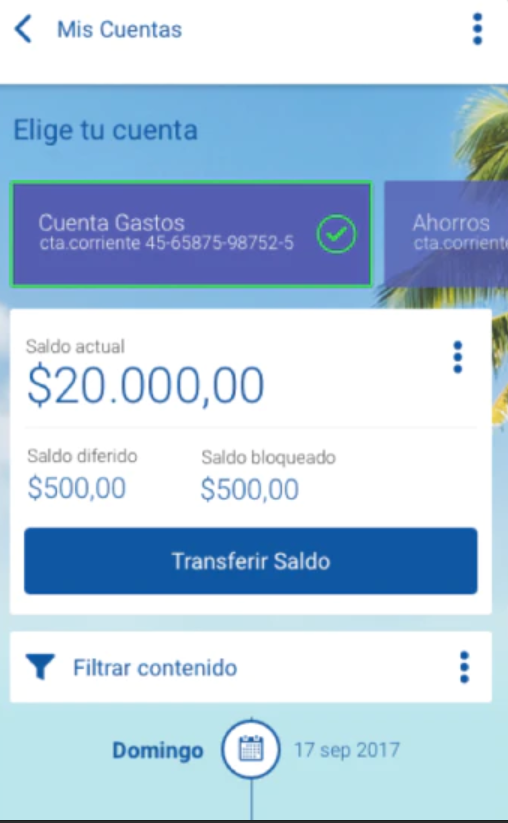Omnibanca screenshot: Omnibanca filter