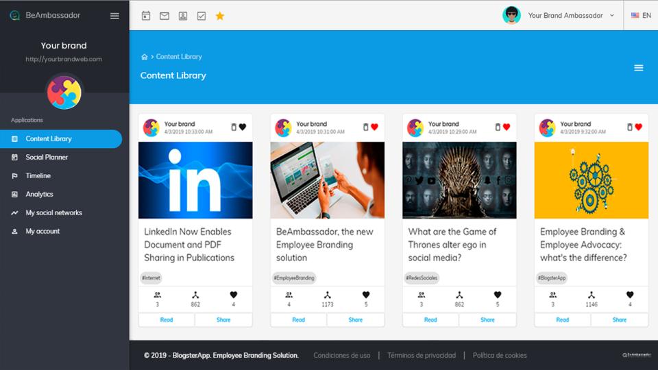 BeAmbassador content library screenshot