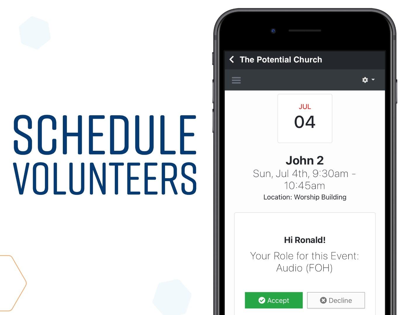 ChurchTrac Software - Schedule Volunteers