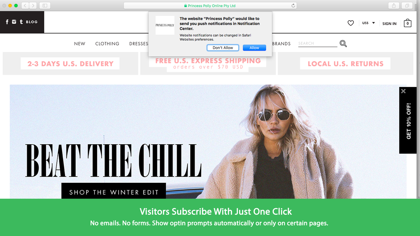 Visitors can subscribe by clicking on opt-in prompts