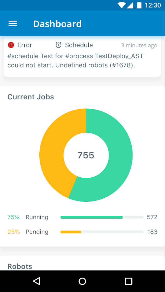 UiPath screenshot: UiPath Robotic Process Automation dashboard screenshot