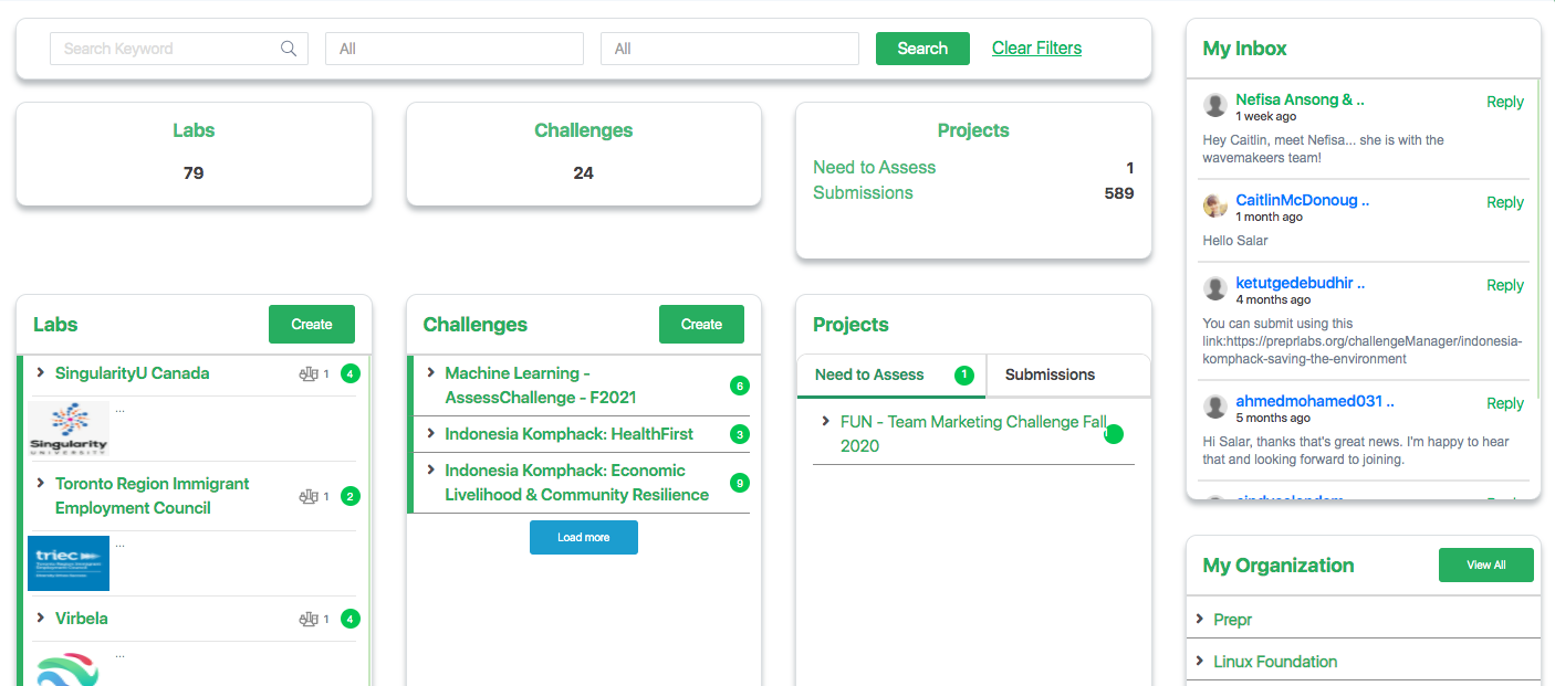 Dashboard to control and oversee activity across all Labs, Challenges, and Projects across the Organization.
