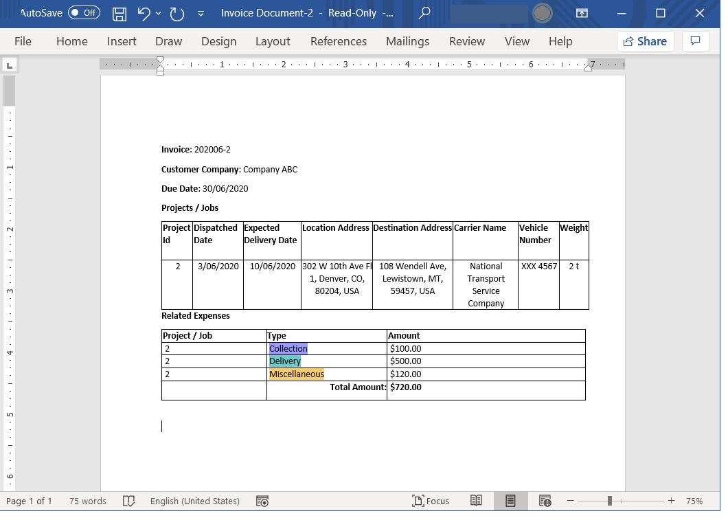 Generated Document example