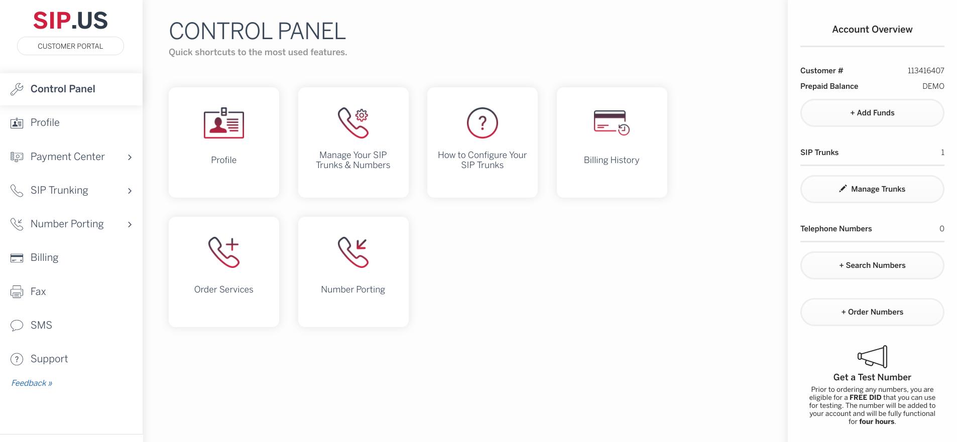 SIP.US Software - Control panel