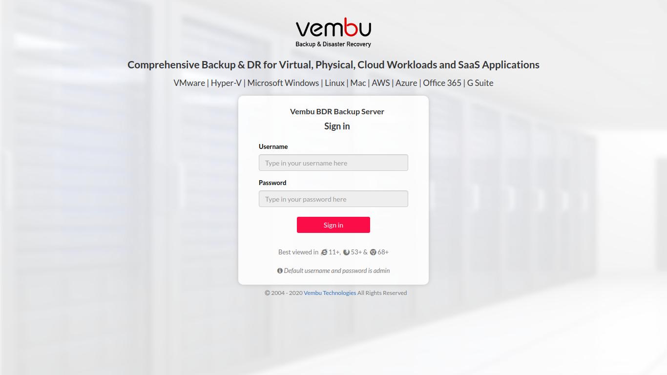 Vembu BDR Suite sign in page