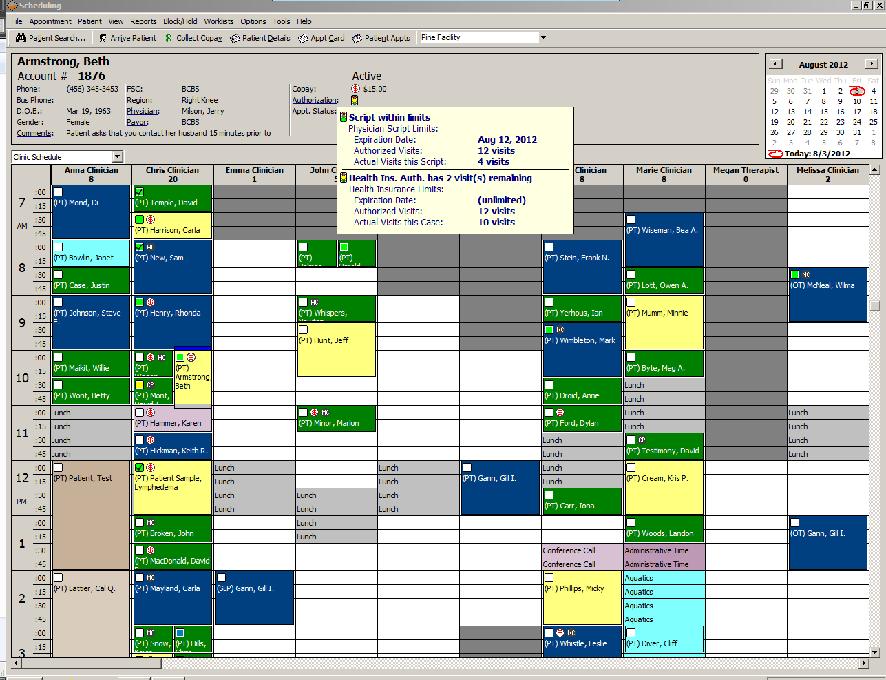 TherapySource Software - Scheduling capture