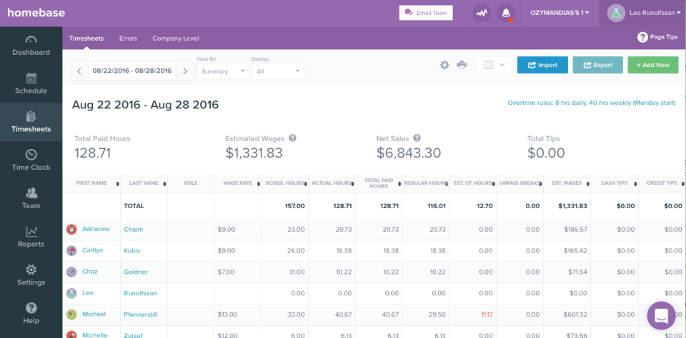 Homebase screenshot: Prepare timesheets with automated time input and labor cost calculation