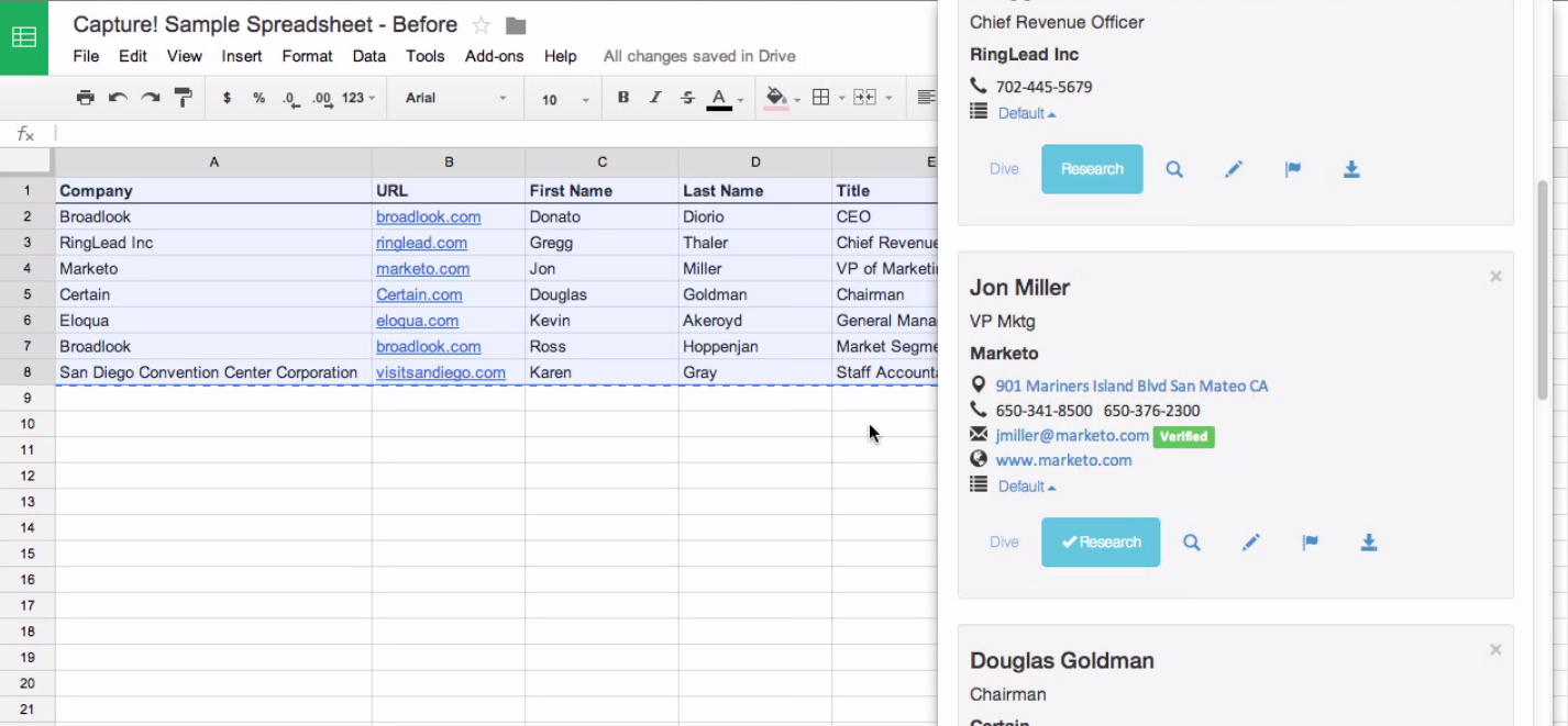 Fill in missing spreadsheet data with Capture
