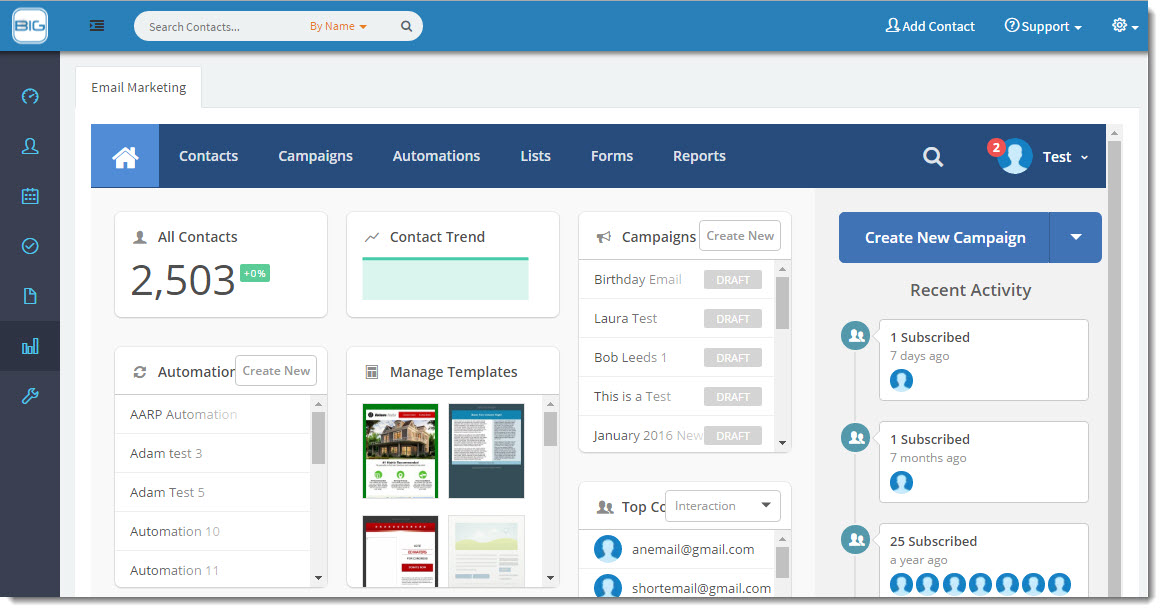 Seamless integration of CRM & Email Marketing software