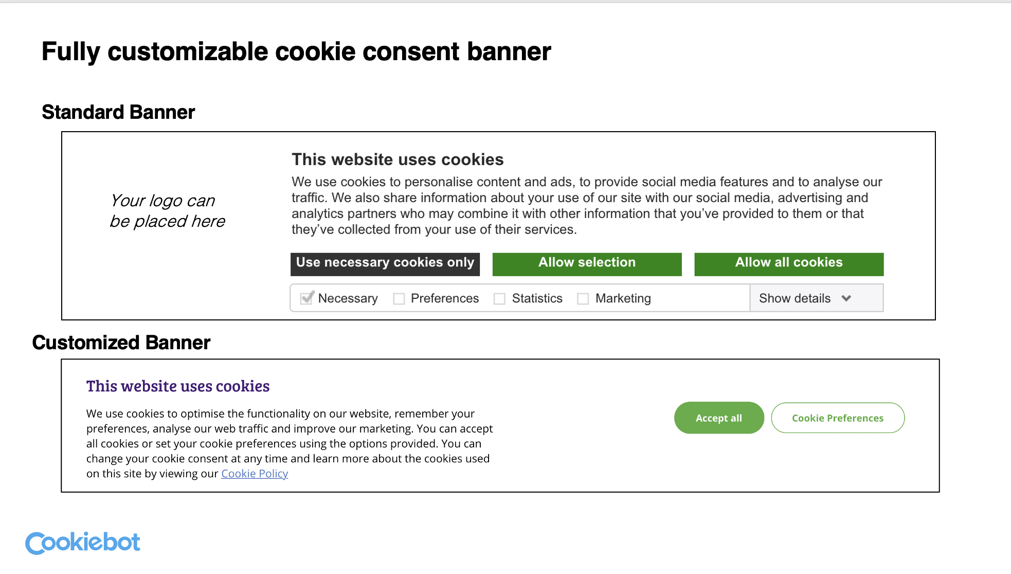 Cookiebot Customized banner