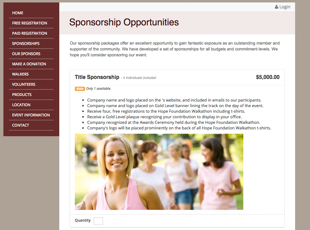 Various sponsorship packages can be offered and sold through the site