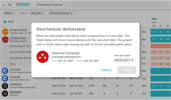 VOGSY Software - Project Planning and Scheduling: Easily reschedule and push forward pending projects and deliverables yet to be started, along with their resource plans