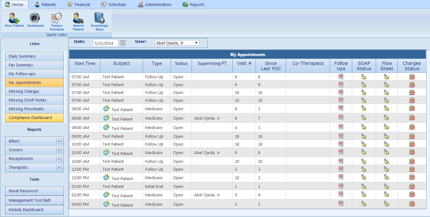 Practice Pro Software - Therapist dashboard