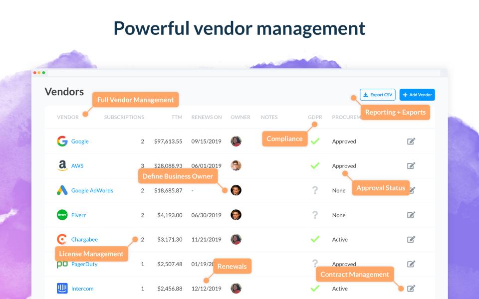 Blissfully vendor management