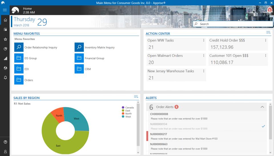 Aptean Distribution ERP Software - Apprise Dashboard