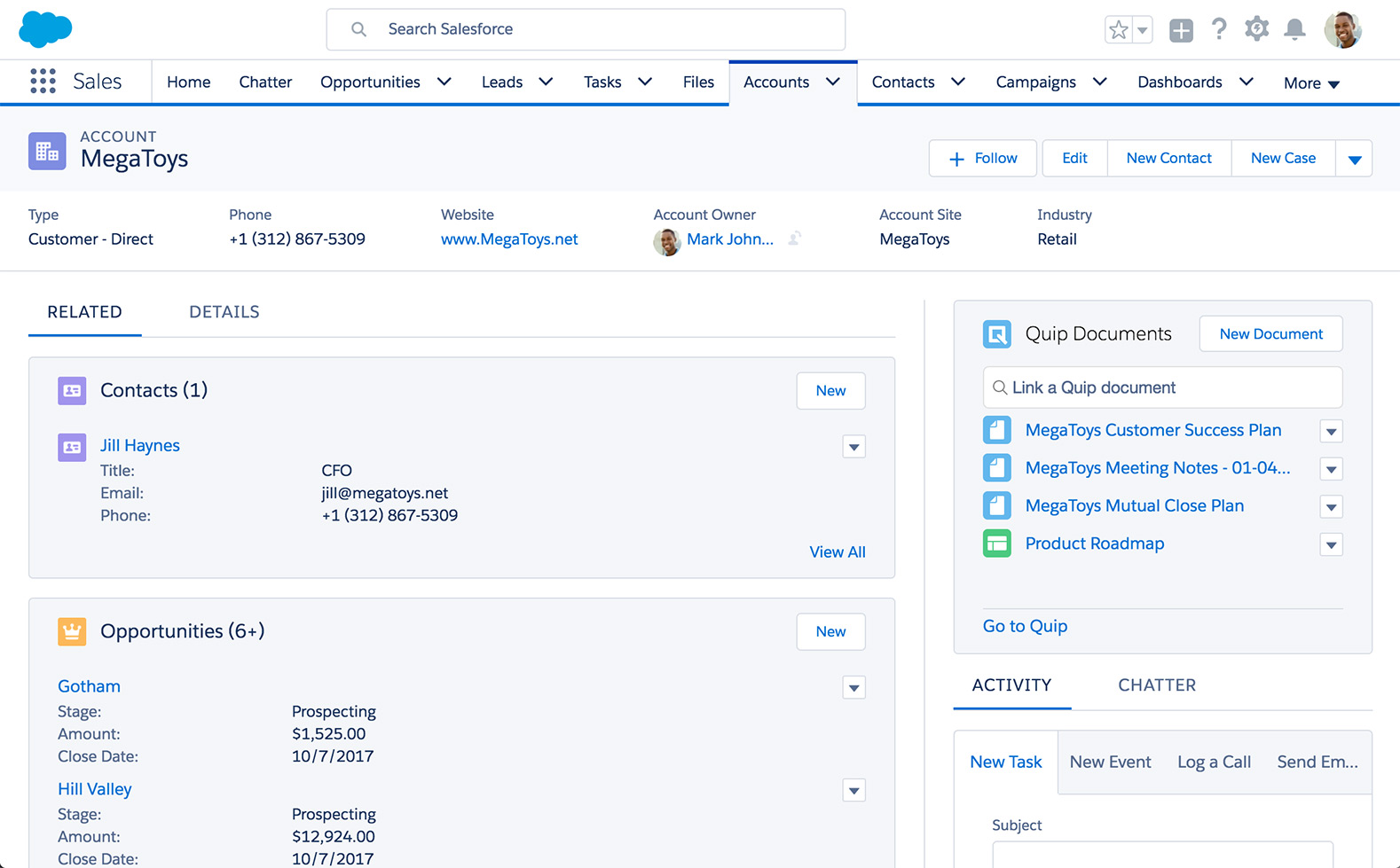 Link and create documents, spreadsheets, and checklists with the Quip component in Salesforce