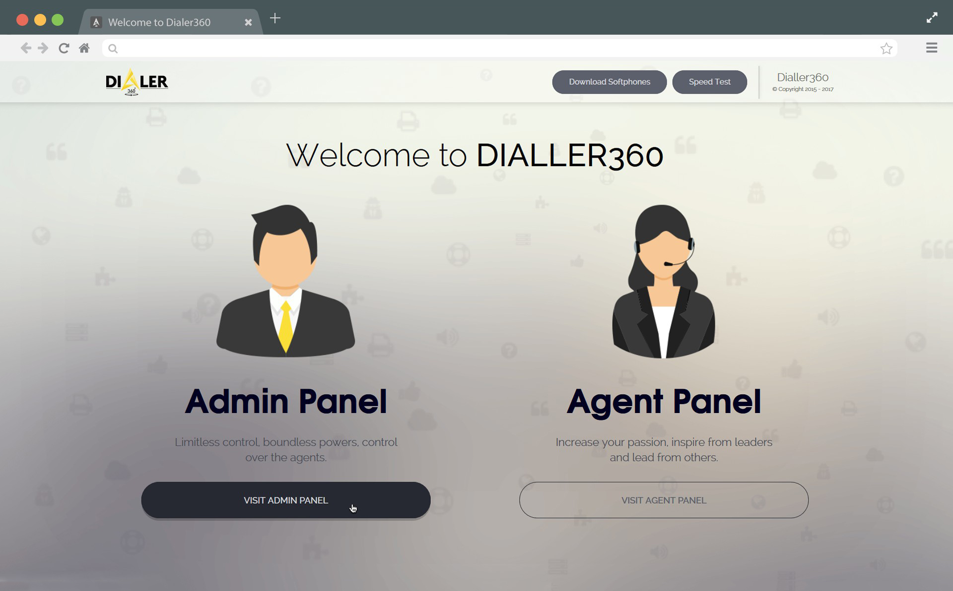 Separate logins for admin and agents