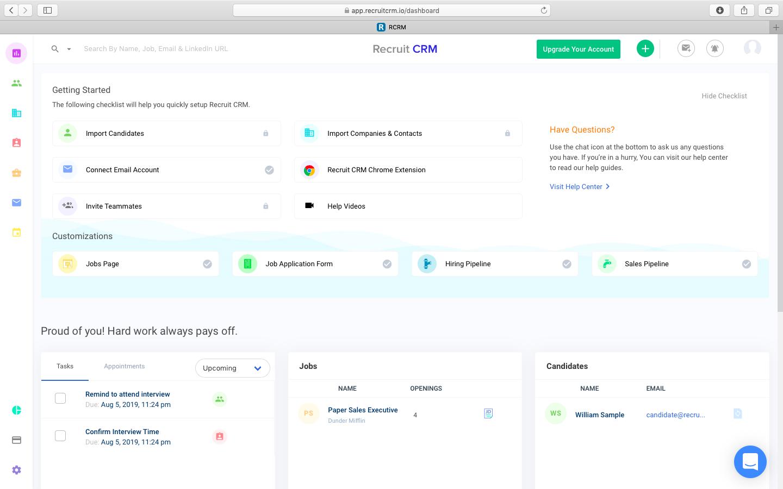 Recruit CRM dashboard screenshot
