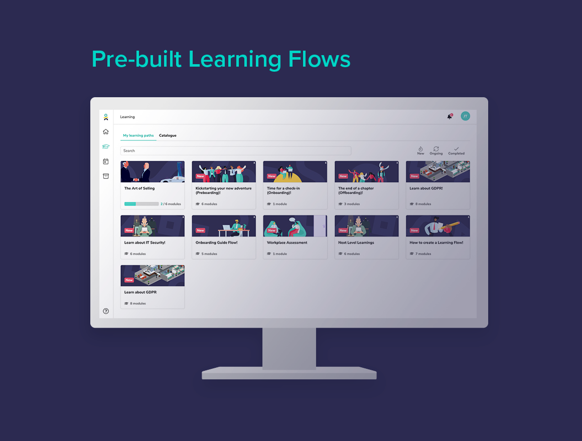 A Learning Platform and LMS doesn't always deliver pre-built learning for you. Learningbank does! Get started right away with learning flows built by experts. can be tailored to your company.