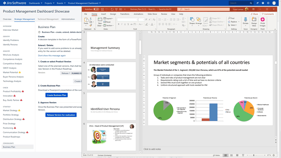 Product Management Dashboard for JIRA Software - Strategic Product Management: strategies, development and marketing fully agile with the Agile Business Plan™ incl. PowerPoint