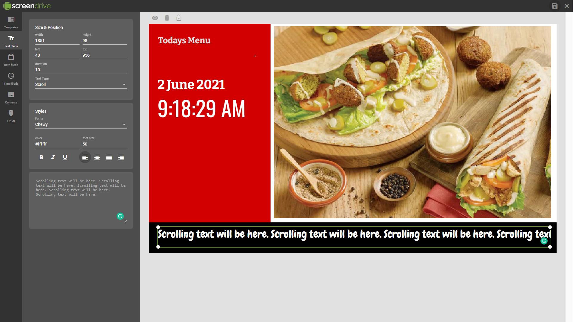 Screendrive template design