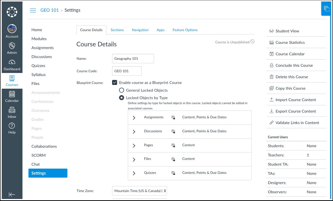 CANVAS Software - Canvas - Blueprint Course Settings