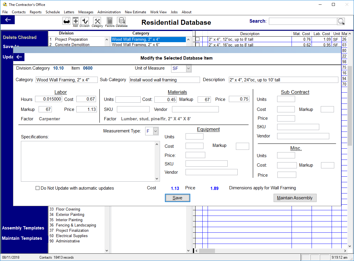 Contractor's Office Software - Database item